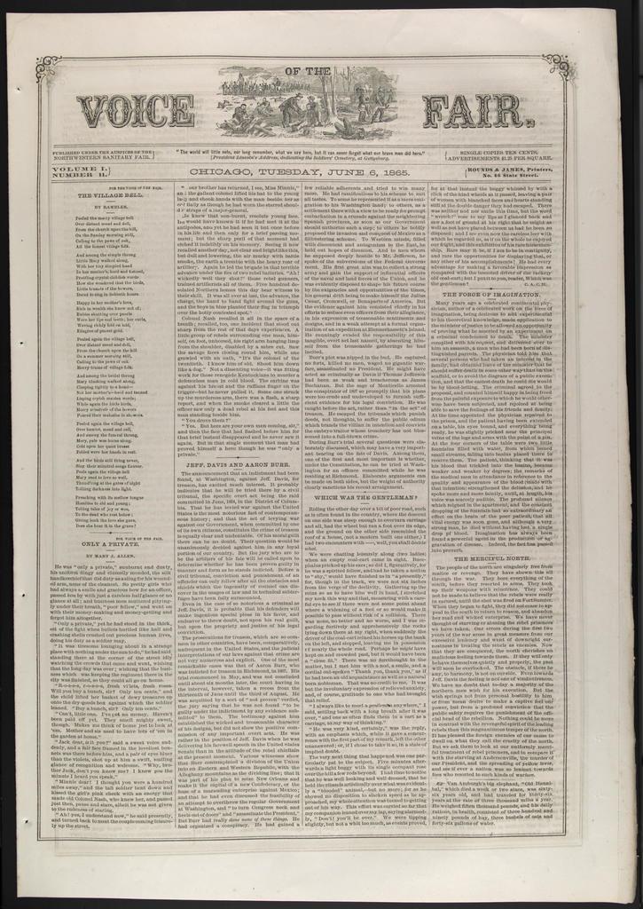 Voice of the Fair, [newspaper]. April 27, 1865-June 24, 1865.