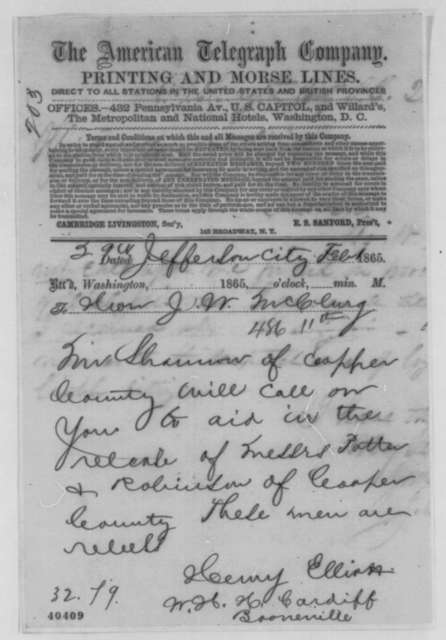 W. H. H. Cardiff and Henry Elliot to Joseph W. McClurg, Wednesday, February 01, 1865  (Telegram concerning release of rebel prisoners)