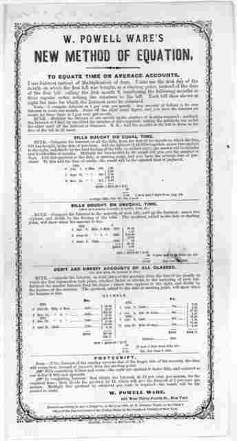 W. Powell Ware's new method of equation. New York. Oliver printer. [c. 1865].