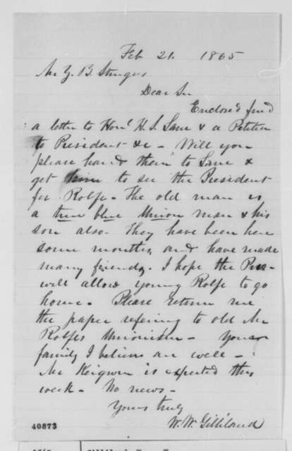W. W. Gilliland to Z. B. Sturgus, Tuesday, February 21, 1865  (Case of E. H. Rolfe)