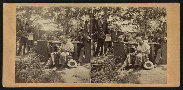 War views. No. 1501, Camp life, Army of the Potomac - writing to friends at home