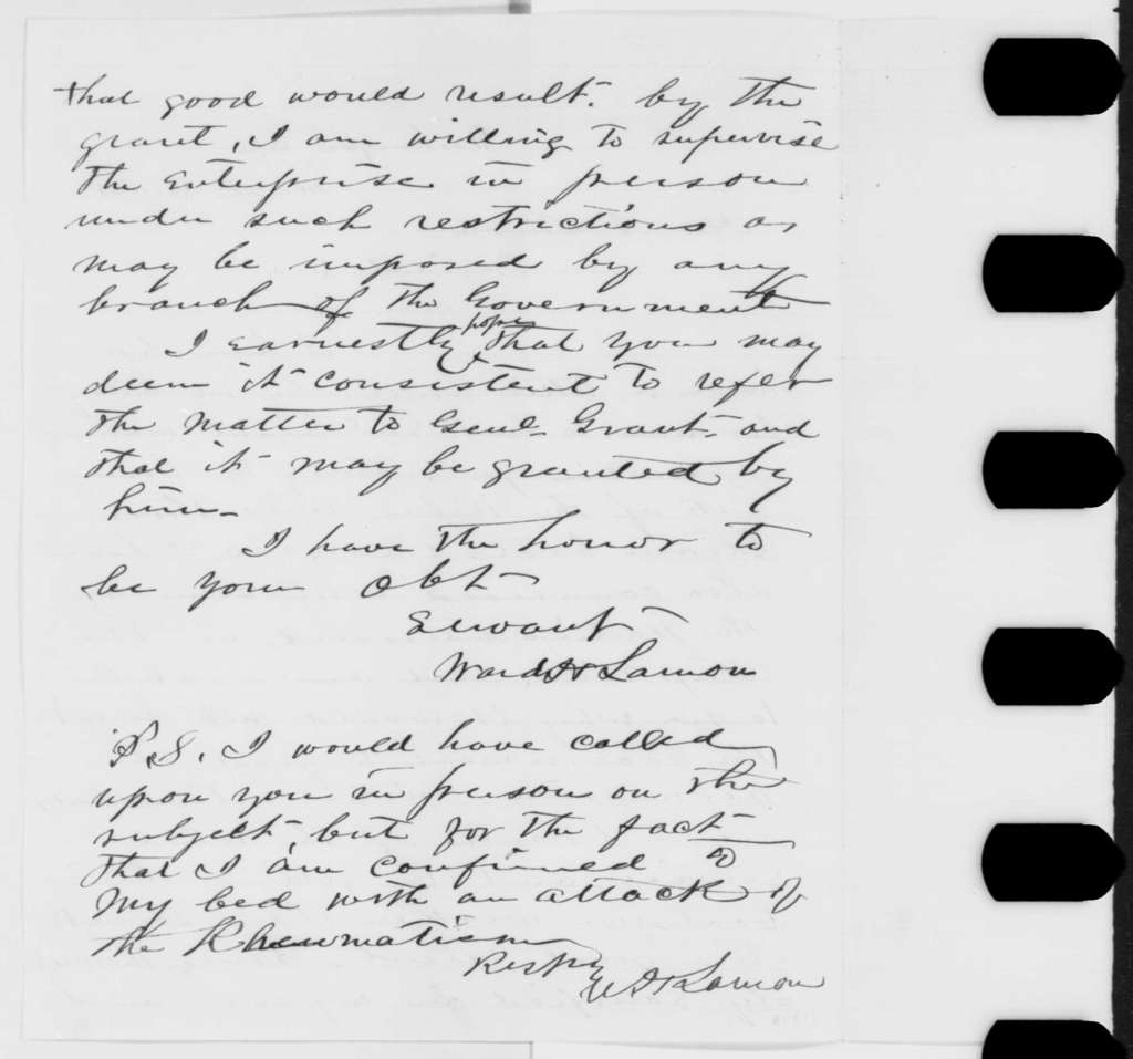 Ward H. Lamon to Abraham Lincoln, Thursday, March 23, 1865  (Case of Sidney Jerman)