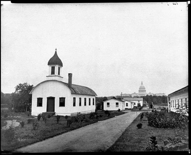 [Washington, D.C. Chapel and other buildings of Armory Square Hospital, 6th and B [Independence Ave.] Sts. SW; completed U.S. Capitol in distance]