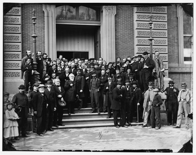 Washington, District of Columbia. Brig. Gen. Charles Thomas, Assistant Quartermaster General and other staff on steps of Quartermaster General's office, Corcoran's Building, 17th Street and Pennsylvania Avenue, N.W.