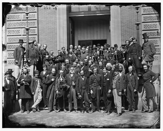 Washington, District of Columbia. Group on steps of Quartermaster General's office, Corcoran's Building, 17th Street and Pennsylvania Avenue, N.W.