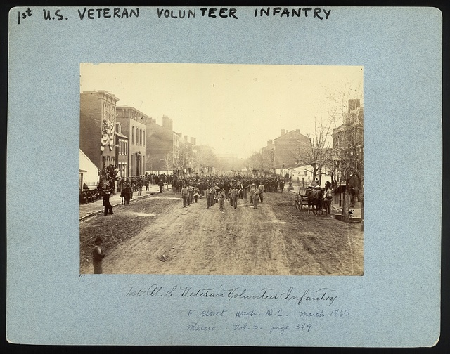 Washington, District of Columbia. Hancock's Veteran Corps on F Street, N.W. Washington, D.C. 1st U.S. Volunteer Infantry