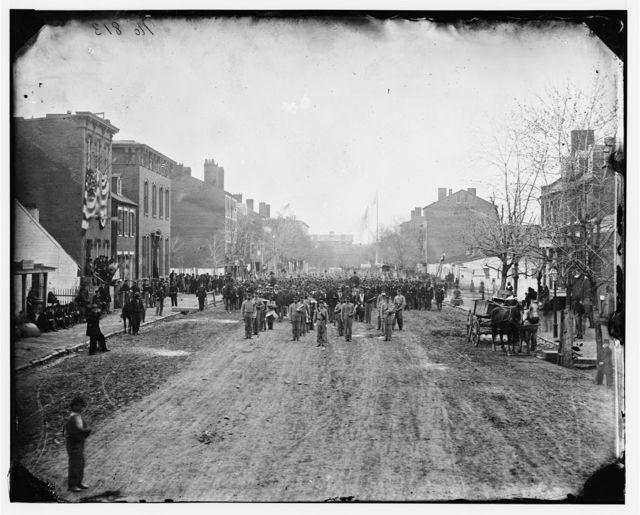 Washington, District of Columbia. Hancock's Veteran Corps on F Street, N.W. Washington, D.C. 1st U.S. Volunteer Infantry