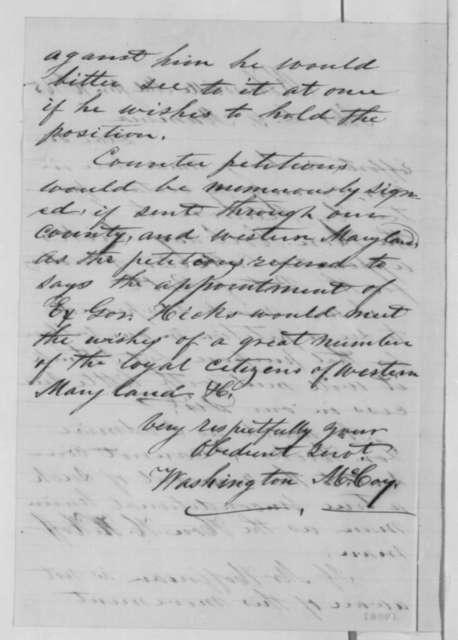 Washington McCoy to Daniel G. Mumma, Monday, January 16, 1865  (Plan to remove Henry W. Hoffman)