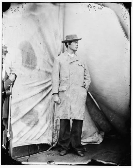 Washington Navy Yard, District of Columbia. Lewis Payne, the conspirator who attacked Secretary Seward, standing in overcoat and hat