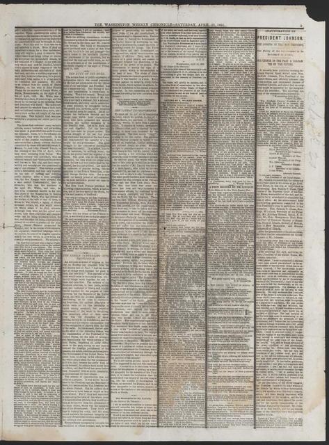 Washington Weekly Chronicle, [newspaper]. April 18, 1865.