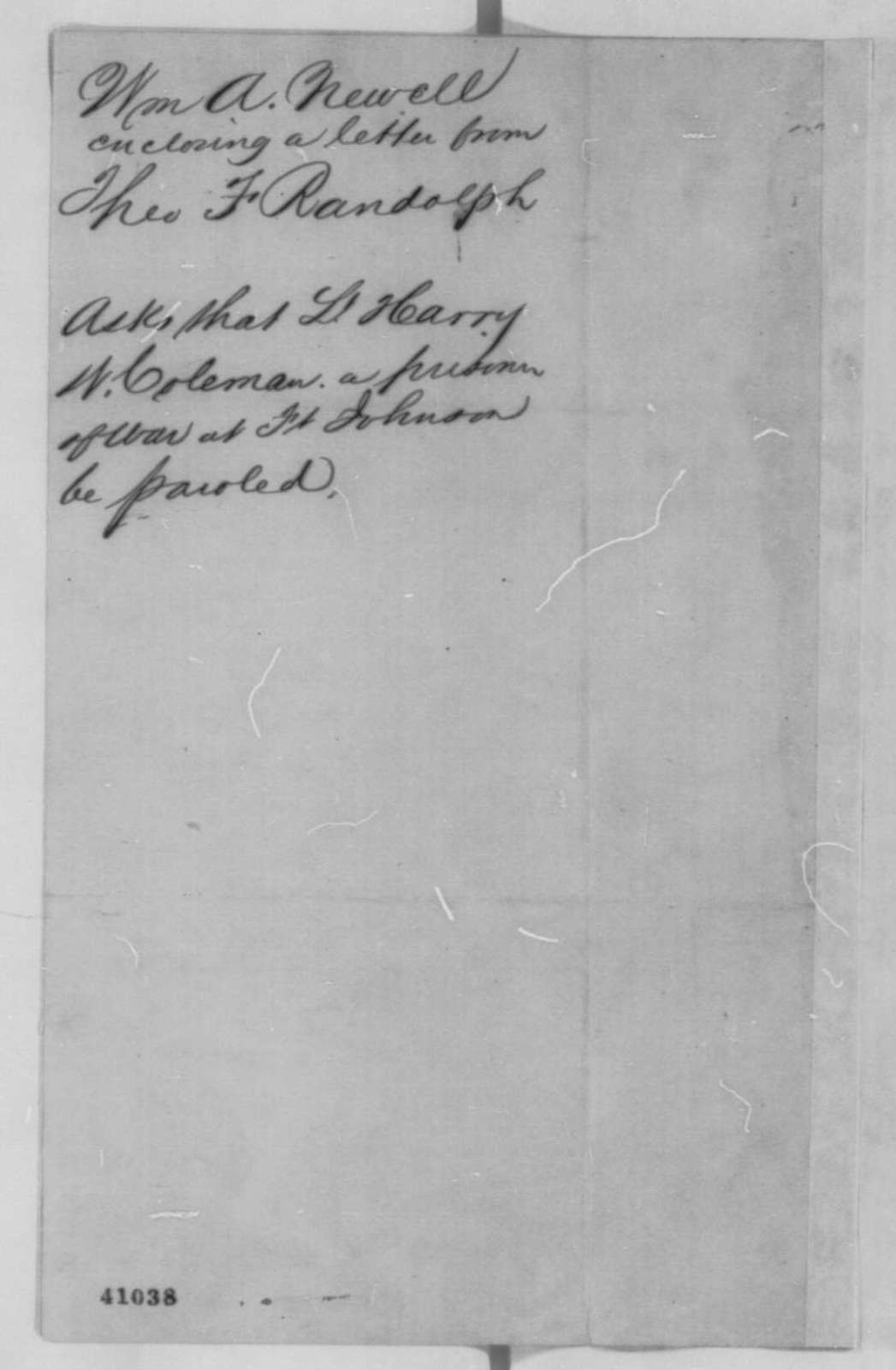 William A. Newell to Abraham Lincoln, Friday, March 03, 1865  (Cover letter)