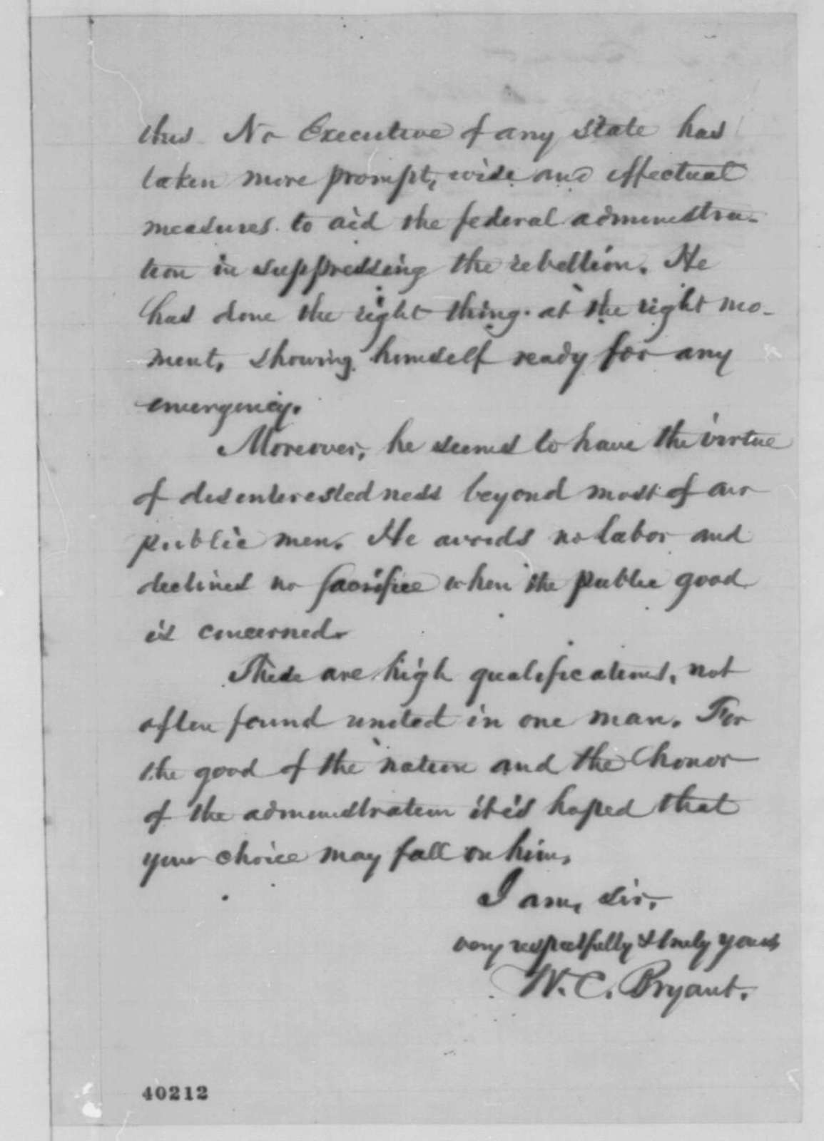 William Cullen Bryant to Abraham Lincoln, Tuesday, January 24, 1865  (Recommendation)