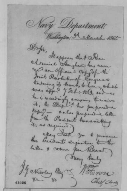 William Faxon to John G. Nicolay, Friday, March 03, 1865  (Requests Lincoln's signature on letter to Admiral Stringham)