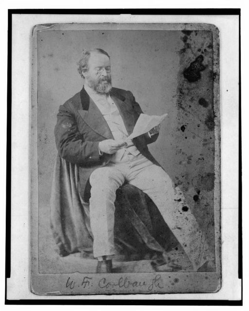 [William Findlay Coolbaugh, founder of the Union National Bank of Chicago, full-length portrait, seated, reading a piece of paper, facing right]