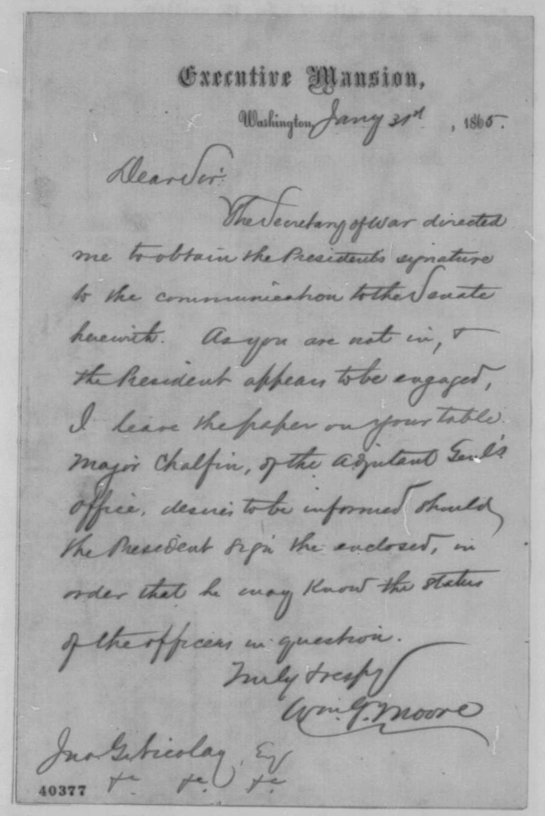 William G. Moore to John G. Nicolay, Tuesday, January 31, 1865  (Cover letter)