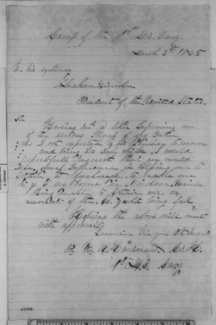 William H. Harriman to Abraham Lincoln, Friday, March 03, 1865  (Requests furlough)