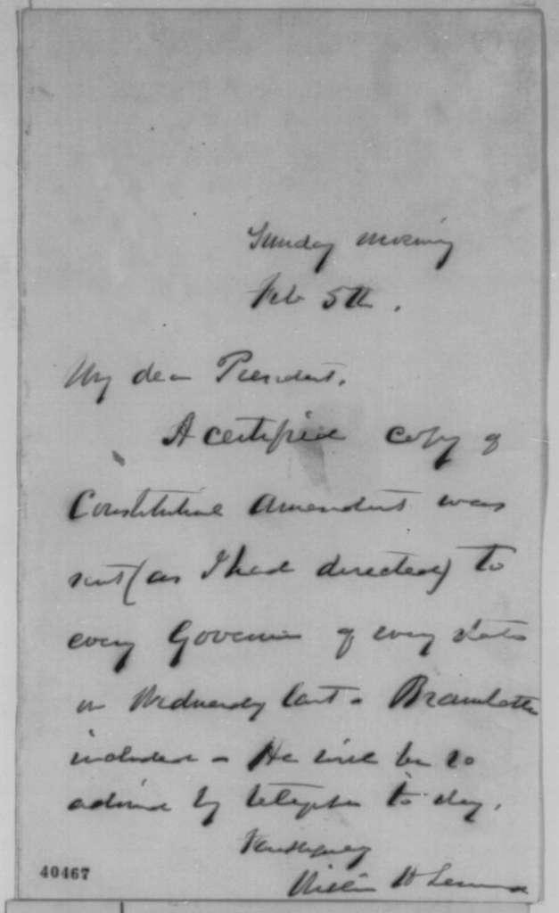 William H. Seward to Abraham Lincoln, February 5 [1865]  (Copy of 13th Amendment sent to Gov. Bramlette)