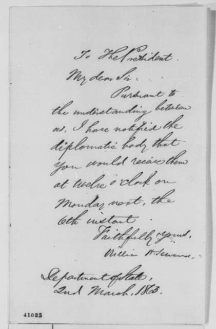 William H. Seward to Abraham Lincoln, Thursday, March 02, 1865  (Reception for diplomatic corps)