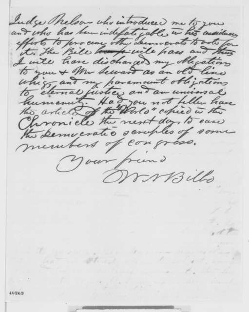 William N. Bilbo to Abraham Lincoln, Thursday, January 26, 1865  (Appreciates his release from prison)