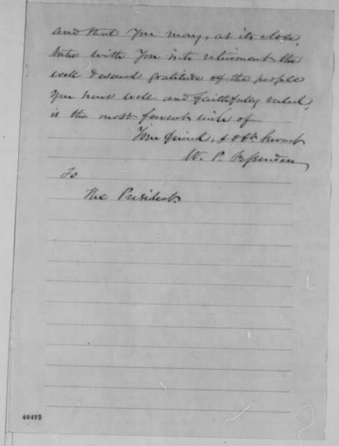 William P. Fessenden to Abraham Lincoln, Monday, February 06, 1865  (Resignation)