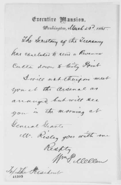 William P. Mellen to Abraham Lincoln, Thursday, March 23, 1865  (Meeting with Lincoln at City Point)