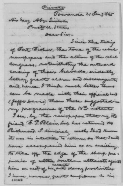 William Patton to Abraham Lincoln, Saturday, January 21, 1865  (Negotiated peace with Confederates)