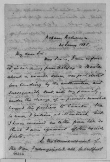 William Preston to Francis P. Blair Sr., Monday, January 30, 1865  (Pass for Margaret Preston)