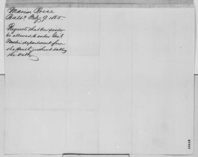 William Price to Abraham Lincoln, Friday, February 10, 1865  (Cover letter)