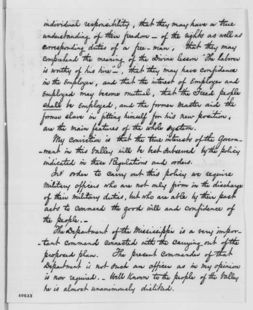 William W. Orme to Abraham Lincoln, Friday, February 10, 1865  (Abandoned plantations in Louisiana)
