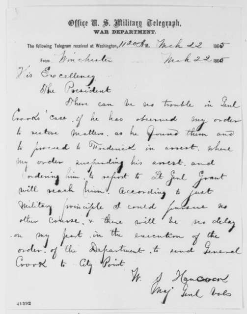 Winfield S. Hancock to Abraham Lincoln, Wednesday, March 22, 1865  (Telegram concerning General George Crook)