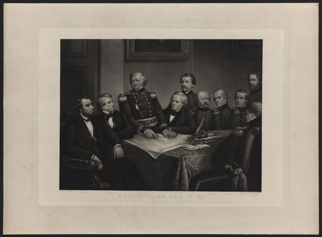 A council of war in '61. [Hall and Perine engraving]