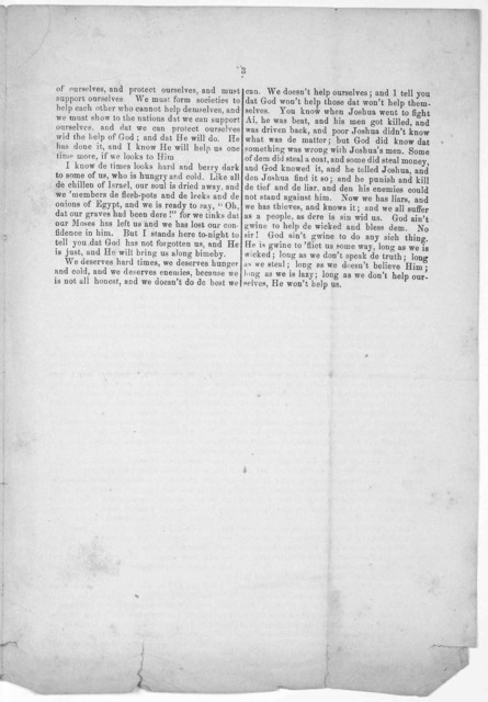 A Freedman's speech. Phildelphia: Published by Frienss' association of Philadelphia and its vicinity for the relief of colored freedmen. [1866?].