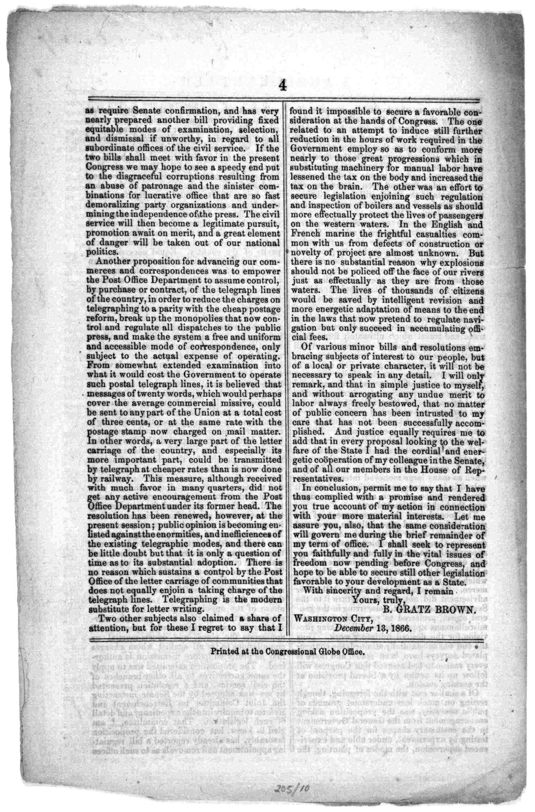 A public letter from Hon. B. Gratz Brown to the people of Missouri. Washington City, December 13, 1866. Printed at the Congressional Globe office.