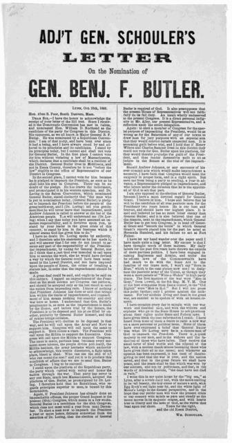 Adj't Gen. Schouler's letter of the nomination of Gen. Benj. F. Butler. Lynn, Oct. 25th, 1866.