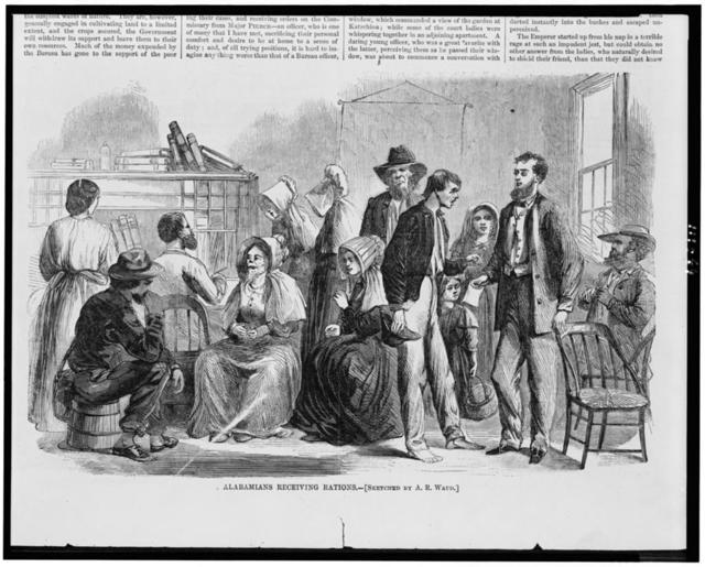 Alabamians receiving rations / sketched by A.R. Waud.