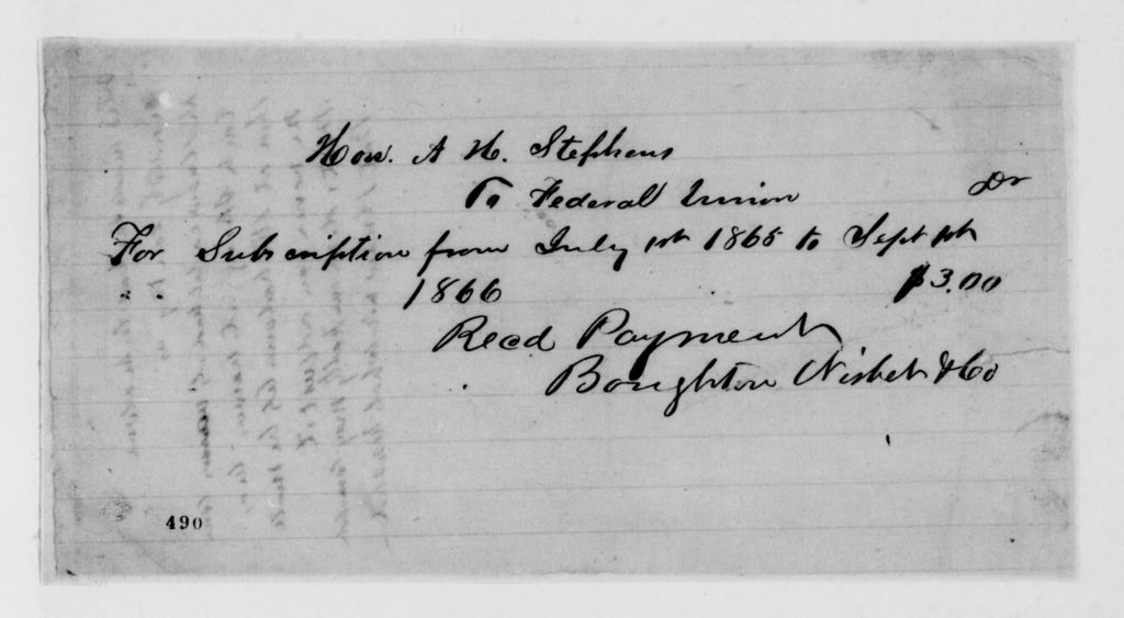 Alexander Hamilton Stephens Papers: General Correspondence, 1784-1886; 1866, May 17-Sept. 19