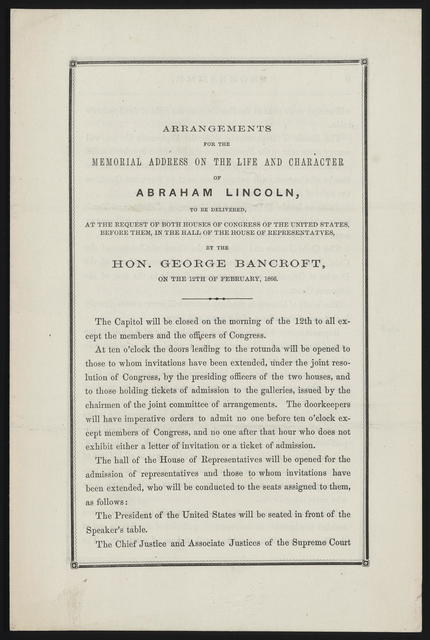 Arrangements for the memorial address on the life and character of Abraham Lincoln.