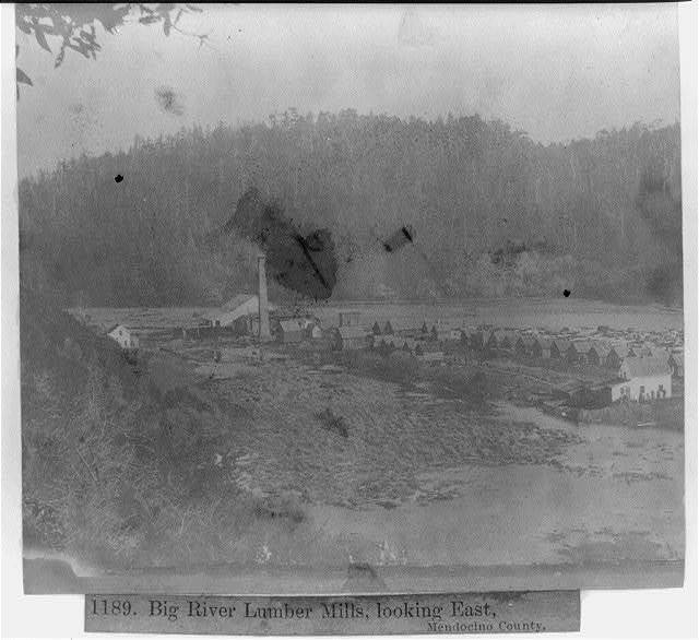 Big River Lumber Mills, looking East, Mendocino County