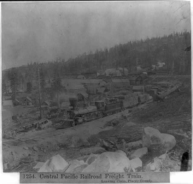Central Pacific Railroad freight train - Leaving Cisco, Placer County