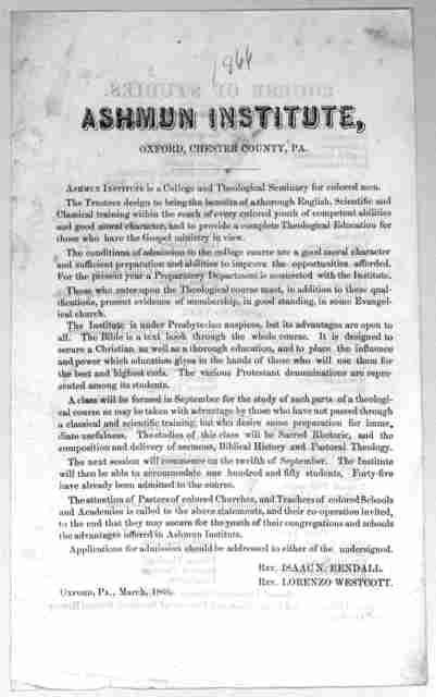 [Circular of the Ashmun institute.] Oxford, Pa. March, 1866.