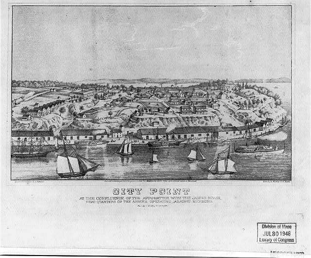 City point at the confluence of the Appomattox with the James River, headquarters of the armies operating against Richmond