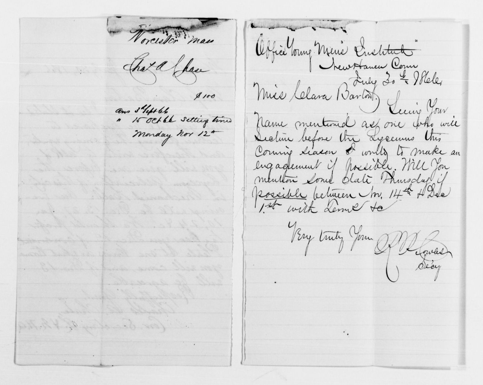 Clara Barton Papers: Speeches and Writings File, 1849-1947; Speeches and lectures; Correspondence; 1866, Jan.-1867, Apr.