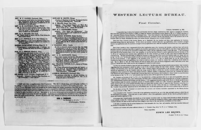 Clara Barton Papers: Speeches and Writings File, 1849-1947; Speeches and lectures; Miscellany, 1866-1898, undated