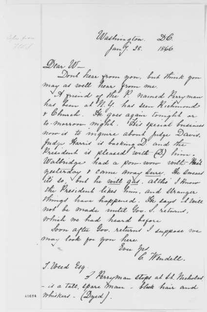 Cornelius Wendell to Thurlow Weed, Sunday, January 28, 1866  (Politics)