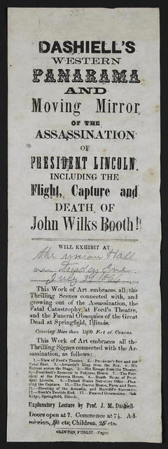 Dashiell's western panarama [sic] and moving mirror of the assassination of President Lincoln.