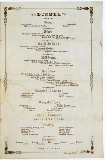 Dinner given by the City of New Orleans, to the Congressional delegation, at the St. Louis hotel, Friday, Dec. 28, 1866.