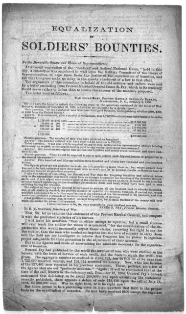 Equalization of soldiers' bounties. To the Honorable Senate and House of representatives ... Wm. S. Morse. Washington, D. C., March 5, 1866.