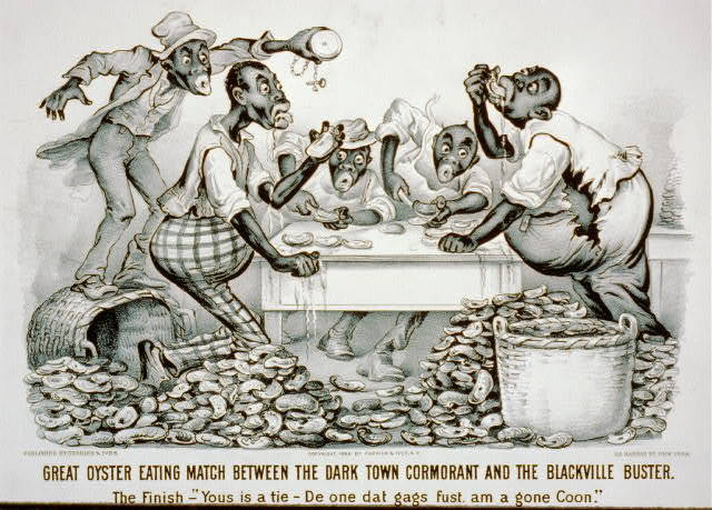 """Great oyster eating match between the Dark Town Cormorant and the Blackville Buster The finish - """"Yous is a tie : De one dat gags fust, am a gone coon."""""""