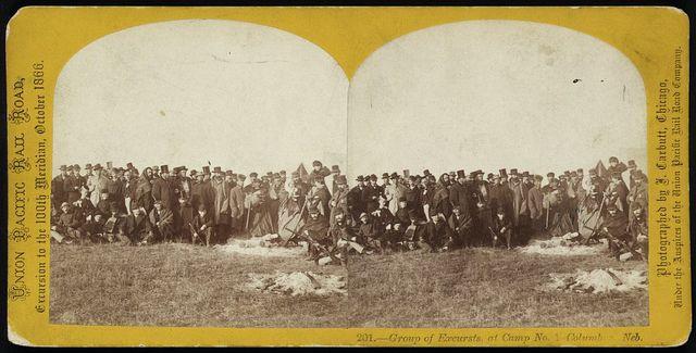 Group of excursts. at camp no. 1, Columbus, Neb.