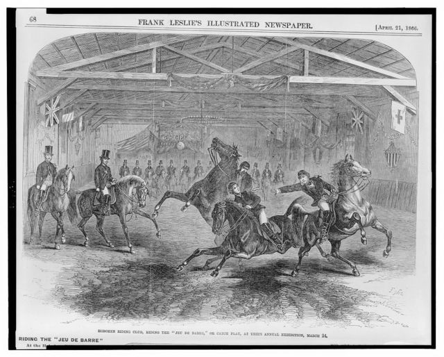 """Hoboken riding club, riding the """"Jeu de Barre,"""" or catch play, at their annual exhibition, March 24 / Bghs."""